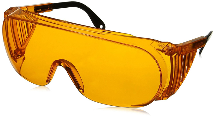Orange UV goggles for glasses wearers