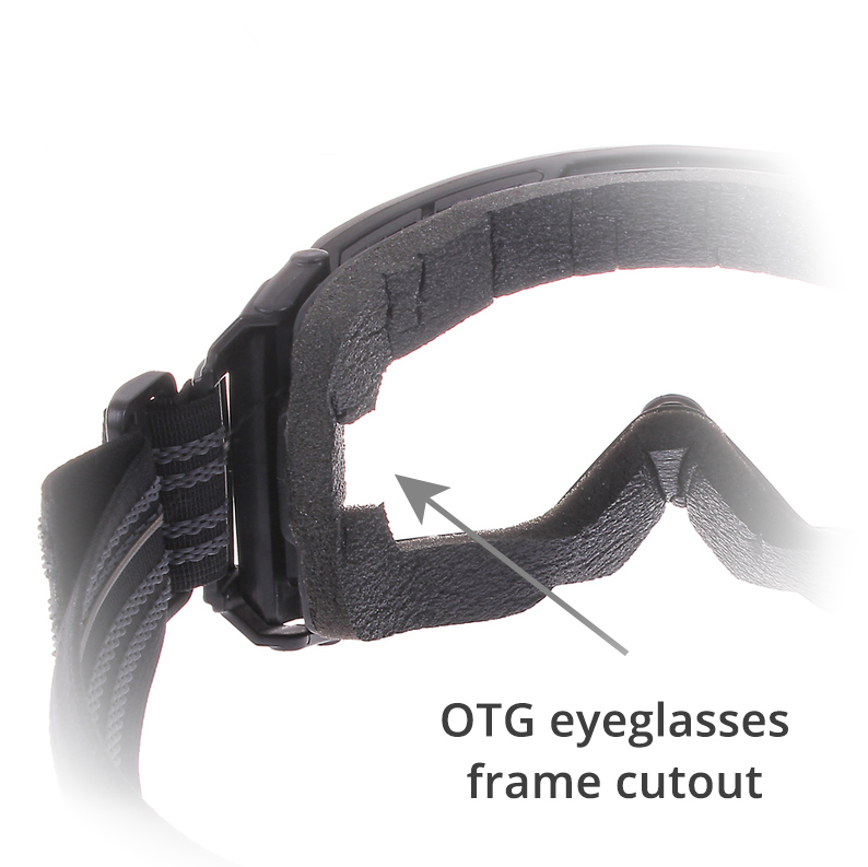 Goggles over glasses cutout slot
